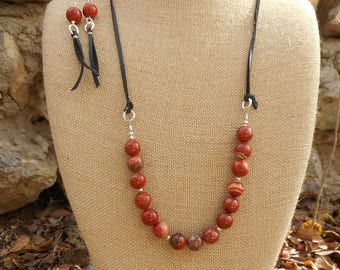 Womens Necklace Extra Long Necklace Red Jasper Stone Necklace Earring SET Beaded Leather Necklace Boho Necklace Gifts for Her