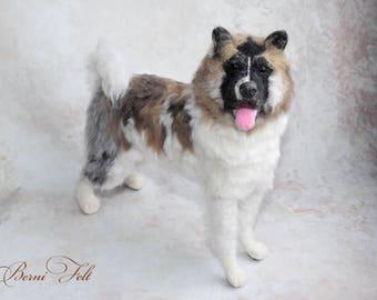 CUSTOM MADE Felted Akita - Akita -Felted Dog  Akita Sculpture  Pet Replica Dog loss gift - Pet loss gift - Made to Order