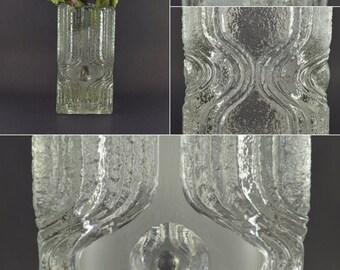 Vintage Square Glass Vase, Heavy Glass Vase, Brutalist Glass Vase, Optic Art, Op Art Glass Crystal, Clear Glass Block Vase, Retro Design