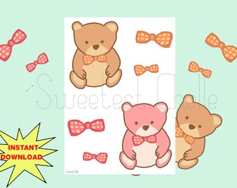 Printable Die Cuts - Teddy Bear Die Cuts - Bow Die Cuts - Cute Die Cuts - Planner Die Cuts - Travelers Notebook Die Cuts - Planner Accessory