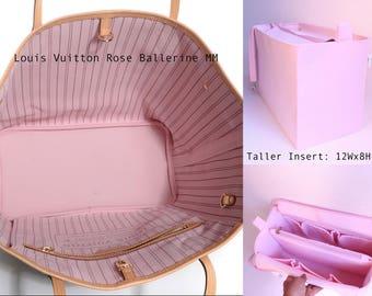 Taller Purse organizer for Louis Vuitton Neverfull GM with Zipper closure- Bag organizer insert in Rose Ballerine