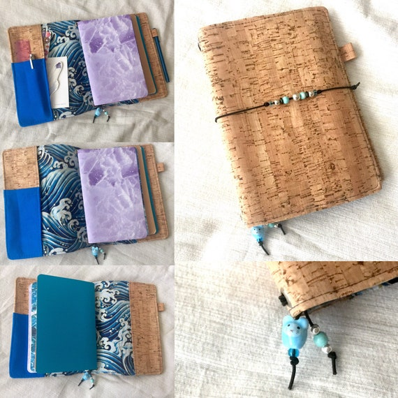 Refillable A5 cork notebook, natural color with a whimsical wave fabric accent and pockets.  Inserts included!