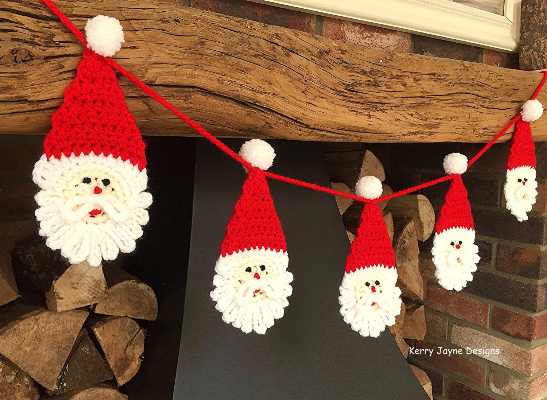 CHRISTMAS CROCHET PATTERN Santa bunting pattern Christmas