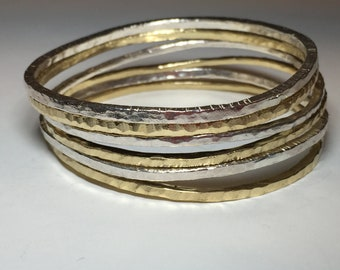 Sterling silver small lines bangle stack