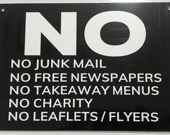 No Junk Mail sign-black (Aluminum Sign)
