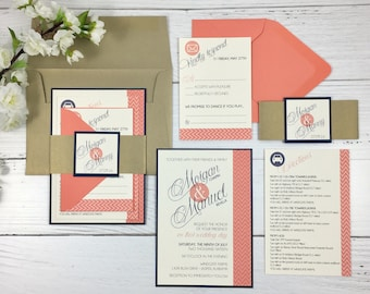 Coral Wedding Invitations, Coral and Gold Invitations, Chevron Invitations, Navy and Coral Wedding Invitations, Modern Wedding Invitations