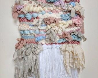 Medium woven wall hanging/ Pastel Castle fiber art / weave/ tissage tapestry