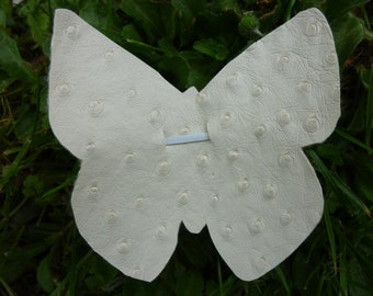 White faux leather ostrich Butterfly Barrette