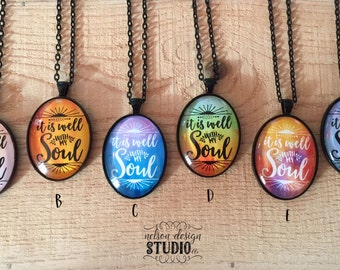 Necklace, it is well with my soul, jewelry, hymn, inspirational, handmade, watercolor, birthday, Christmas, present, gift
