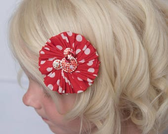 red polka dot hair clip, red minnie mouse flower clip, girl hair clip, baby hair clip, baby shower gift, toddler hair clip, flower girl hair