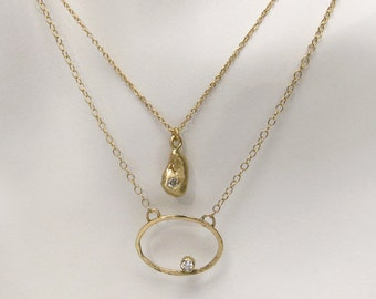 14k Gold Diamond Charm Necklace ~ Unique Gift ~ Ready to Ship