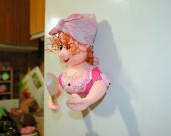 OOAK Refrigerator Magnets, Made with Love, Soft dolls, Knitting Doll Handmade, Fridge Magnets, Wedding Souvenir, Wood Spoon,