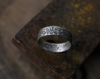 Unique men wedding band: Unusual engagement rings - Two tone wedding band - Male wedding ring - Rustic ring for men- Valentines gift husband