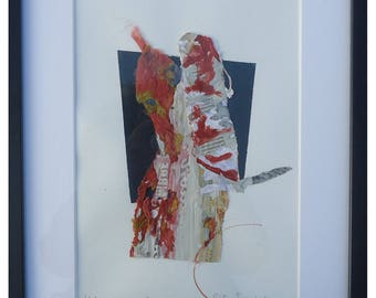 Collage Art, Origina Artwork, Mixed Media, Abstract Art, Collage on paper, Wall Art,  FREE SHIPPING
