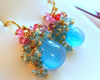 14k Gold Multi Gemstone Earrings, 14k Gold Chalcedony Earrings