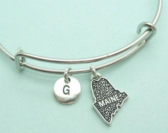 Maine charm bangle bracelet, personalised initial bangle, letter, personalised charm, USA