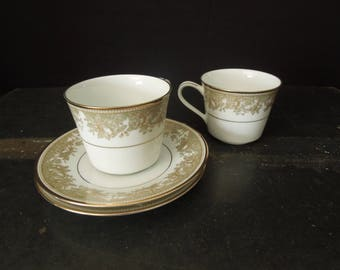 Vintage Noritake China Cups and Saucers - Lucerne Pattern - Green Gold Ceramic Dinnerware - Coffee Cup Vintage