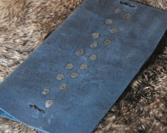 Blue leather  mini notebook cover