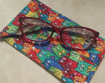 EYE GLASS CASES-Rainbow Kitties (Phone & glasses not included)