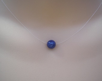 8mm Lapis lazuli Gemstone Floating Ball Necklace Illusion Necklace Simple Lapis lazuli Necklace Silver Gold or Rose Gold plated clasp 41ILL