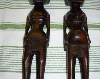 Vintage African Tribal Ethnic Art Wood Carved Figurines Male and Female