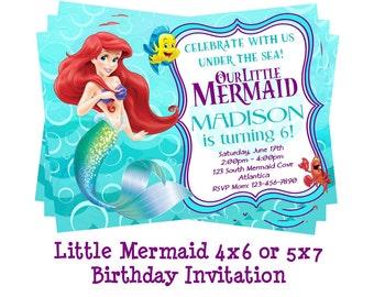 Ariel invitation etsy disney little mermaid invitation mermaid party ariel birthday invites ariel party invites filmwisefo Choice Image