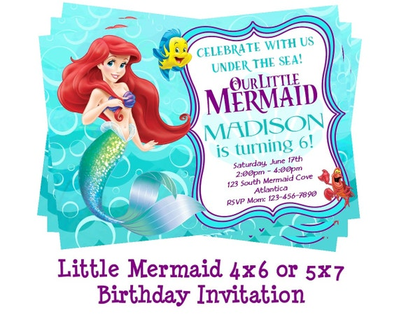 Disney Little Mermaid Invitation Mermaid Party Ariel