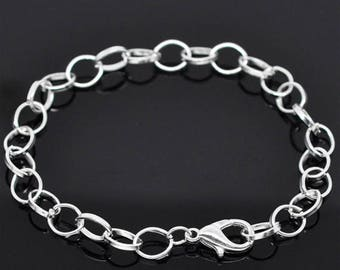 "5 Silver Plated Belcher Link Lobster Clasp Charm Bracelets 7.5"" 20cm (002)"