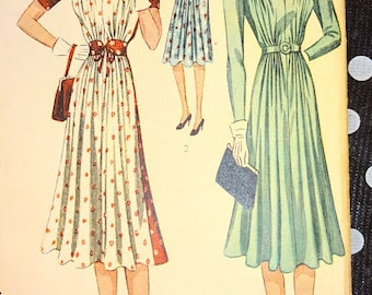 1930s Style Deep V Neck Gathered Bust Dress with Full Swig Skirt Custom Made in Your Size From a Vintage Pattern