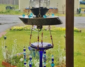 Cobalt blue wine glass & crystal bead solar powered wind chime