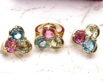 Ivana Pink, Yellow, and Blue Crystal and Rhinestone Earring and Ring Set Goldtone