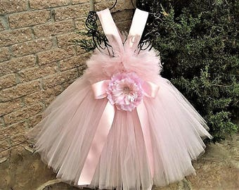 PALE PINK Tutu Dress, Flower Girl Gown, Pageant Girl Dress, First Birthday Tutu, Baptism Gown, Christening Dress, Pink Tutu Dress, Baby Gift