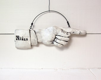 Sale. Niñas Pointing Finger.  Fired Ceramic.  Recycled Clay.  Bathroom Sign.