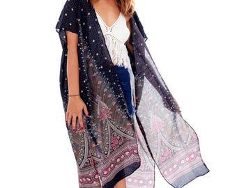 Black Boho Kimono, Womens Kimono Beach Cover Up, Hippie Gypsy Bohemian Kimono Shawl, 3/4 Tribal Kimono Jacket Cardigan, Shrugs