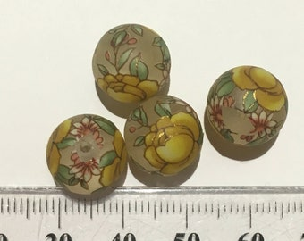 4 Matte yellow rose Japanese tensha acrylic beads