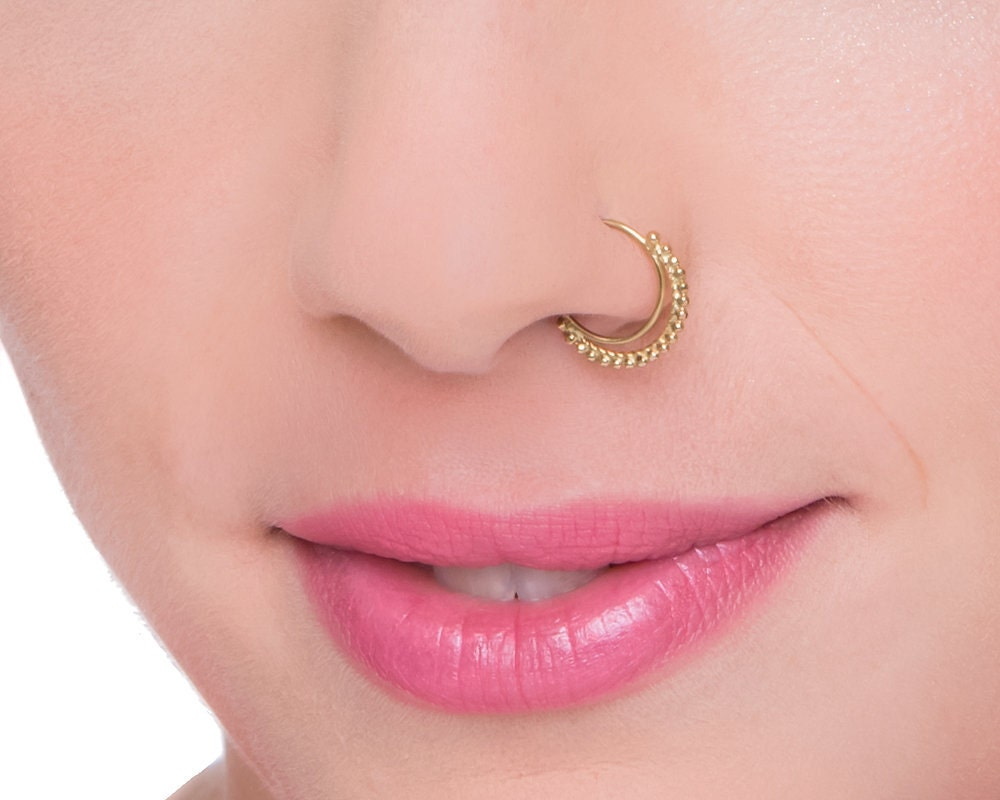 Tribal Nose Ring Indian Nose Ring Gold Nose Ring Solid Gold