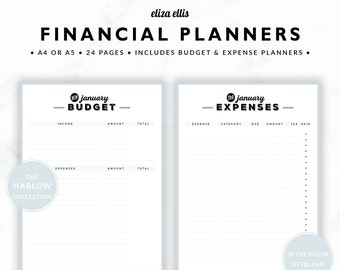 FINANCIAL PLANNERS / Budget Planner / 2018 Planner / Expense Tracker / Budget / Finance Planner / The Harlow Planners in Sterling / 419