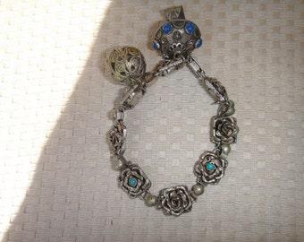 Vintage Etruscan Silver Charm Bracelet Rose design