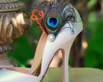 Iridescent Peacock & Orange Shoe Clips. Stylish Feminine Couture, Statement Burlesque Boudoir, Bride Bridal Bridesmaid, Silver Metallic Gem