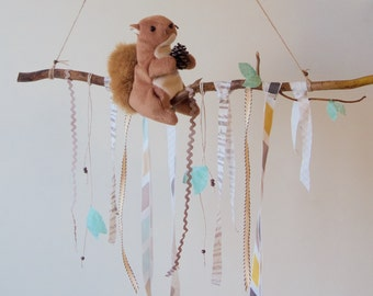 Woodland Baby Mobile Nature Nursery Decor Squirrel on a Branch Woodlands Animal Nursery Branch Mobile