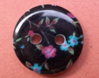 10 small black buttons 13mm (6410) button flowers