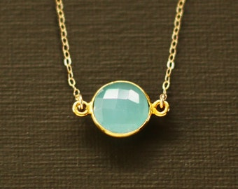 Blue Chalcedony Necklace - 14K gold filled chain - 24K over Sterling Silver bezel
