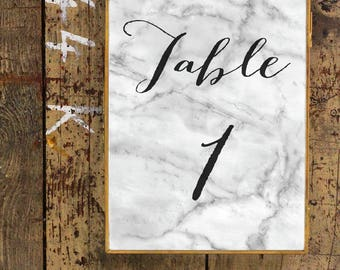 Marble Table Numbers | Printable Wedding Table Numbers | Modern Table Numbers 1-20