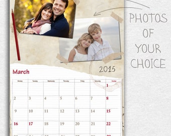 "2017 ""Paper"" Calendar, Personalized printable wall photo calendar, monthly custom calendar, A4/A3"