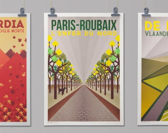 Cycling Art Prints  'Monument One Day Classics' (Full set of 5 Prints)