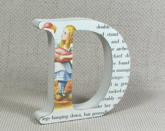 "Alice in Wonderland Letters, Buy 3 Get 4th Free! Hand painted, 2 Heights Available 10cm/4"" & 13cm/5.10"""