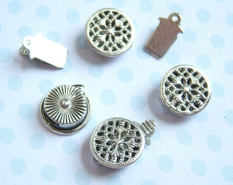Aniqued silver plated filigree pinch clasp, lot of (3) - HJ120