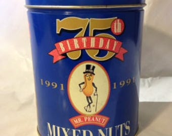 1991 Vintage 75th Birthday Mr. Peanut Tin/Planters Celebrates/Americana/Collectible Tin