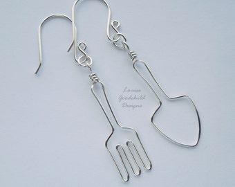 Gardening earrings, gardening gift, sterling silver, gardeners, MADE TO ORDER, silver earrings, gardening gift ideas, gardening, garden