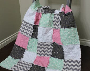 Crib Quilt, Pink Mint Quilt, Pink Rustic Quilt, Rag Quilt, Rustic Nursery, Shower Gift, Woodland, Crib Bedding, Baby Quilt, Ready To Ship